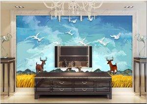 3d wallpaper custom photo mural Nordic oil painting landscape elk TV sofa background wall Home decor 3d wall murals wallpaper for walls 3 d