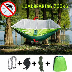 Portable Parachute Mosquito Net Hammock Tent Swing Outdoor Travel Camping Picnic Adult Single Double Person Hanging Hammock Bed