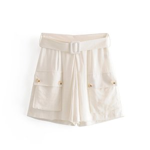 Women Spring Summer White Shorts Fashion Cotton Linen Casual High Waist Bottons Bottoms Belt Sashes Front Double Pockets Shorts 2020 New