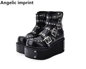 Angelic imprint handmade Women Gothic motorcycle punk boots lady short Boots woman high trifle heels pumps shoes rivets 33-47