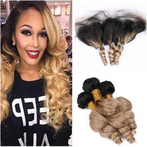 N ° 1B / 27 Vierge Blonde Ombre Péruvienne Huamn Cheveux Loose Bundle Bundle Deals 3Pcs avec Front Light Brown Ombre Vierge Cheveux tisse avec fermeture