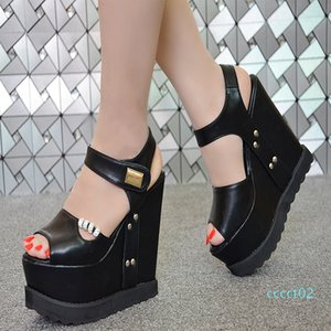 2018 summer new wedge 15 cm nightclub sexy thick-soled Muffin sandals super high heel women's sandals simple elegant high heels ct2