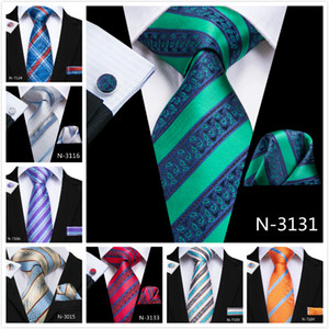 HI-Tie New Arrival 10 Style Stripe Ties Neck Tie Pocket Square Cufflinks Set for Mens Business Party
