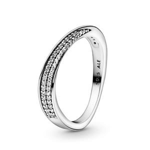 925 Gümüş açacağı Pandora Kutusu Gerçek Taşlı Elmas Nişan Alyans ile Dalga Yüzük 18k Beyaz Altın Kaplama Takımları