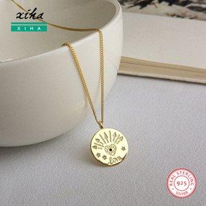 Tag Rodada Eye disco Love Letters das mulheres colares Jóias 925 Sterling Silver Cubic Declaração Zirconia Colar Boho com pingente