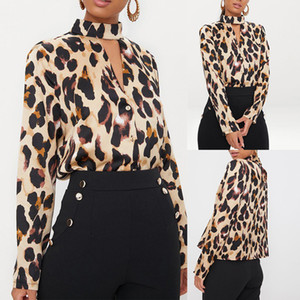 Plus Size outono Womens Ladies Long Sleeve Top Botão oco Out Leopard Impresso Tops Casual shirt Tops soltos