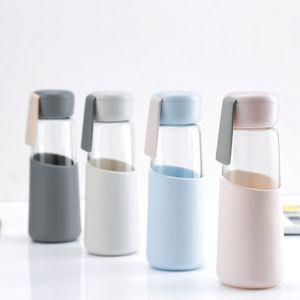 Verre Bouteille d'eau potable de couverture de silicone Sport Bouteilles d'eau Café INS verre Voyage Tumbler Bouteilles 400ml