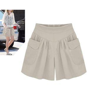 Summer Plus Size Short Women Xl -4xl 5xl Wide Leg Female Shorts Casual Loose Ladies Khaki High Waist Thin Pantalones Cortos