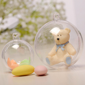 Bola colgante de Navidad Adornos transparentes de plástico Bola Decoración de Navidad Decoración transparente del banquete de boda Grado alimenticio que se puede abrir