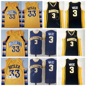 College Basketball 33 Jimmy Butler Marquette Golden Eagles Dwyane Wade Jersey 3 Page d'accueil Noir Marine Bleu Jaune Tout Cousu Haute Qualité