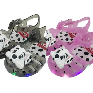 Season 2019 Sandals and Slippers jelly children's sandals LED flash lamp cartoon polka dot puppy Baotou baby slippers summer