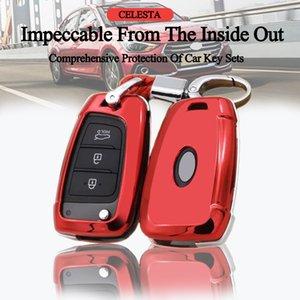 3 Boutons ABS Placage clés de voiture Housse Pour Hyundai Solaris Keyfob 2 Elantra i30 i35 i40 Tucson Kona 2015-2019