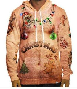 Hommes Hoodies de Noël Designer Lumières Cerfs ELK Imprimer Sweat-shirts 3D Hommes Noël pulls avec capuche