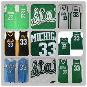 Colégio de Spartans do Estado de Michigan 33 Magical Earvin Johnson 23 Jérsei de Draymond Green Stitched 33 camisas de basquete do High School de Larry Bird