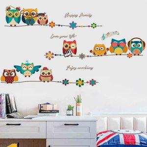 quality eco friendlyCute owls animal wall sticker cartoon kids room decoration bedroom decor wall decor creative self-adhesive s