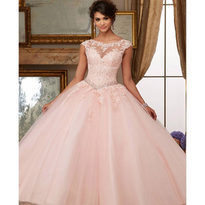 Pink Prom Dresses 2019 New Elegant Off the Shoulder Lace Embroidery Vestidos De 15 Anos Quinceanera Dresses Party Gowns Evening Dress