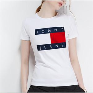 2019 verano nueva camiseta de manga corta de algodón cuello circular de las mujeres clásico moda casual creativo letras de impresión camiseta