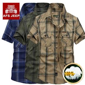 Inoltre militari Dimensioni 5XL 100% magliette di cotone Chemise Homme originale Abbigliamento Uomo Chemise Homme Plaid AFS JEEP Cargo