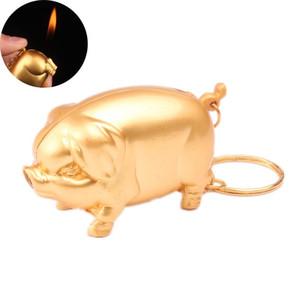 новый мини Творческий газовой зажигалки Завышенные бутан Металл Золото Pig Модель сигареты Fire Starter с брелка Симпатичные Смешные Зажигалки