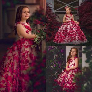 Sevimli Balo Çiçek Kız Elbise Mücevher Kolsuz El Yapımı Çiçek Dantel Gelinlik Modelleri Kat Uzunluk Çocuklar Resmi Giyim