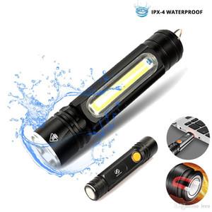 Multifuncional lanterna LED USB Dentro bateria recarregável poderosa tocha T6 COB Side desenho de luz ímã cauda lanterna