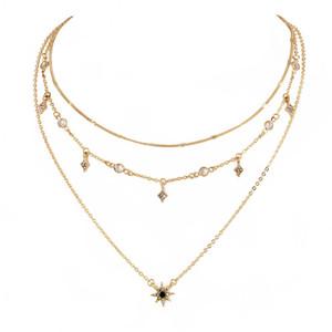 Gold Chain Crystal Star Ожерелье Многослойная ожерелье Чокеры ожерелья женщины Мода ювелирные изделия и Sandy подарок