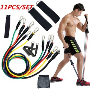 11pcs set Exercises Resistance Bands Latex Tubes Pedal Excerciser Body Home Gym Fitness Training Workout Yoga Elastic Pull Rope Equipment