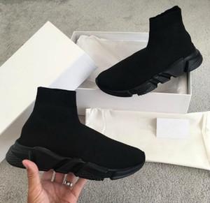 Luxus-Speed Trainer Schwarz Knit hohe Socken Sportschuhe, Dreifach Black Flat Mode Socken Stiefel, mit dem Kasten