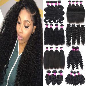 9A Brazilian Remy Virgin Hair Bundles Kinky Curly Human Hair Extensions 100% Unprocessed Body Wave Straight Deep Wave Human Hair Weaves