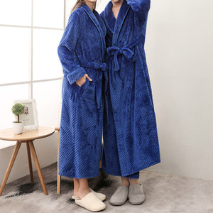 Flannel Winter Lengthened Thermal Plush Shawl Bathrobe Sleepwear Long Sleeved Underwear Warme Kleding Coat Dressing Gown