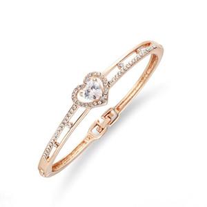 New Rose Gold Armband White Crystal Bangle Bohemian Damenbekleidungszubehör-Edelstahl Modeschmuck Valentinstag Großhandel