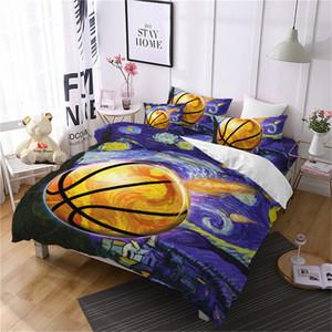 4 adet Yağlıboya Basketbol Yatak Seti Erkek Renkli Nevresim Seti 3D Spor Tasarım Yatak Örtüsü Düz Levha Yastık D40