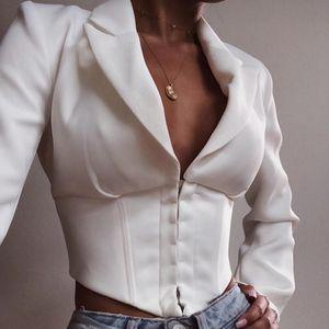 Frauen Blazer und Jacken Sexy V-Ausschnitt Einreiher Blazer Feminino Kurze Oberbekleidung Mäntel