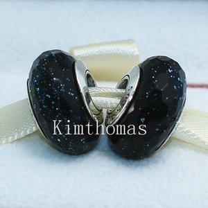 DIY Loose Beads Handmade Lampwork 925 Sterling Silver Sparkling Facaded Murano Glass Charm Bead Fits European Pandora Jewelry Bracelets-F03