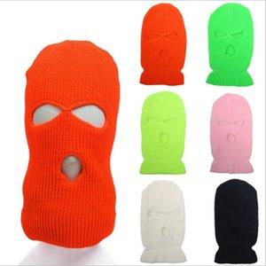 Máscara gorrita tejida de ciclo al aire libre de la cara llena de Earflaps Sombrero Negro caliente del invierno Montar gorrita tejida cápsula de la manera Headwear Accesorios LSK630