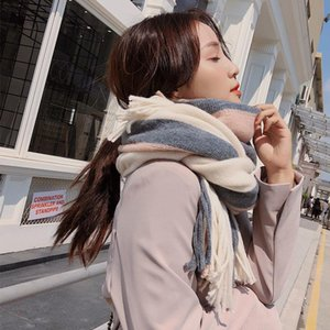 High Quality Scarf Thick Shawl Dual-use Long Color-matching Knitted Wool Winter Scarf Female Designer Scarf for Women Free Shipping