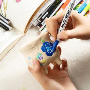 0.7mm Akrilik Marker kalem Renk Seramik Kaya Cam Porselen Kupa Ahşap Kumaş Tuval için Kalemler Boya İşaretleme Ayrıntılı Boya