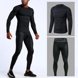 رجال حار تشغيل للياقة البدنية مجموعات ملابس رياضية ضغط التدريب PantsTights رياضة كرة السلة الملابس سترة اللباس ديبورتيس الجوارب
