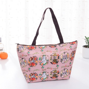 Oxford Cloth Print Lunch Bag Folding Insulated Lunch Handbag Camping Aluminum Foil Large Capacity Portable Food Bags Cleanable VT1560 T03