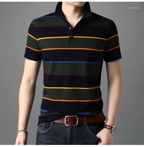Giyim Yaz Erkek Tasarımcı Polos Moda Gevşek Kısa Sleeve Yaka Boyun Tshirts Çizgili Kazak Tees Erkek