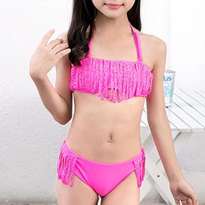 Sexy Crianças Bikini 7-16y novas crianças Sexy Girl Swimsuit do bordado Meninas florais Biquinis Conjuntos para adolescentes Crianças Swimwear praia de banho