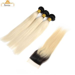 H Ombre 1b 613 Blonde Brazilian Human Hair Bundles With Closure Unprocessed Brazilian Straight Hair Extensions And Closure 1b 613 Bulk