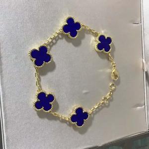 Fleur de marque de luxe de qualité avec cinq fleurs nature pendentif en pierre bracelet avec fermoir à losange pour les femmes cadeau de mariage bijoux