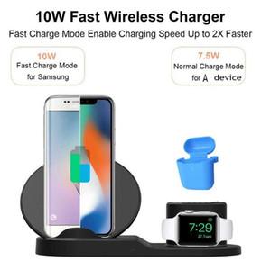 Nouveau 3 en 1 10W Chargeur rapide sans fil Dock Support rapide de charge pour l'iPhone 11 X XR XS Max Montre 1/2/3/4 écouteurs Samsung S10 note 10 plus