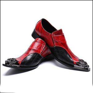 Black Red Pointed Toe Man Formal Dress male paty prom shoe Flats Genuine Leather Metal Tipped Monk Straps Vintage Men's Handmade Party Shoes