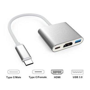 متعددة الوظائف 3 في 1 USB-C محور USB 3.0 HDMI TV فيديو من النوع C محول لوحي 10PCS / أعلى