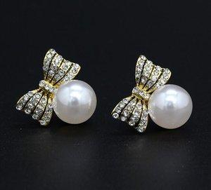 Fashion Bow Sweety Earrings Anti-allergy Alloy Zirconia Stud Earrings Gem Rhinestone Crystal Ear Stud Jewelry for Women