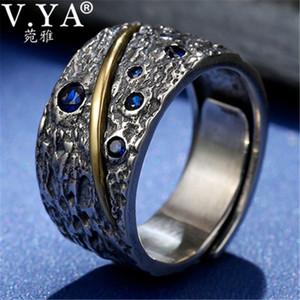 V. YA Blu Zircone 925 Sterling Silver Ring Per Gli Uomini Thai Argento Anello Aperto Homme gioelleria raffinata e alla moda anelli Regali