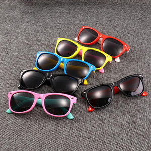 Kids Silicone Sunglasses 23 Colors Boys Girls Children Sun Glasses Safety Glasses Baby UV400 Eyewear LJJO6941-6