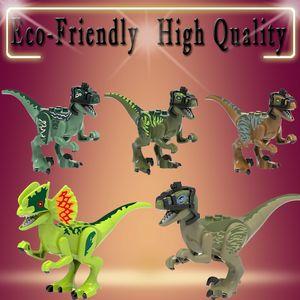 빌딩 블록 쥬라기 세계 공룡 Dilophosaurus Velociraptor Pteranodon 컬렉션 선물 어린이 장난감 X0243